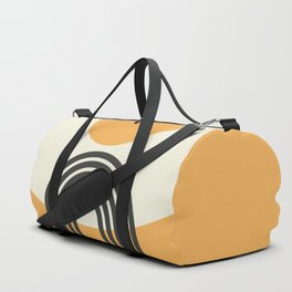 Geometric Lines in Gold and Black 2 (Rainbow and Sunrise Abstract) Duffle Bag