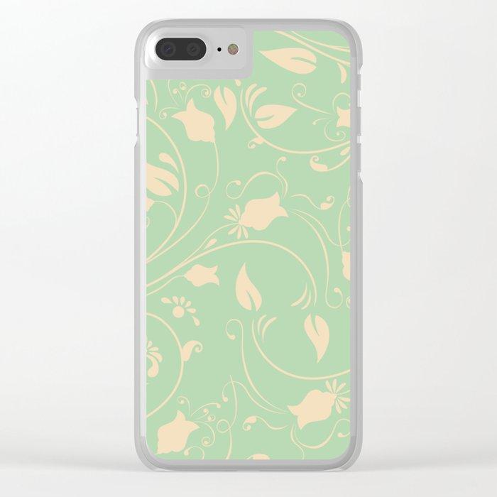 Vintage victorian flower pattern Clear iPhone Case