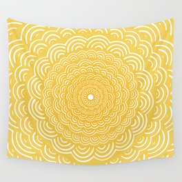 Spiral Mandala (Yellow Golden) Curve Round Rainbow Pattern Unique Minimalistic Vintage Zentangle Wall Tapestry