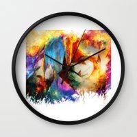 gurren lagann Wall Clocks featuring Kamina by ururuty
