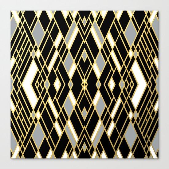 Art Deco Grey Gold Canvas Print