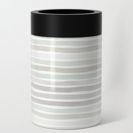 Watercolor Stripes Hues of Grey by Friztin Can Cooler