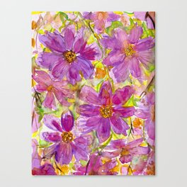 Watercolor Wildflowers Canvas Print