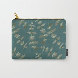 Eucalyptus Patterns with Aqua Background Realistic Botanic Patterns Organic Design with Real Plants Carry-All Pouch