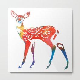 Rainbow Deer Metal Print