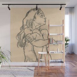 "Egon Schiele ""Seated Nude Girl Clasping Her Left Knee"" Wall Mural"
