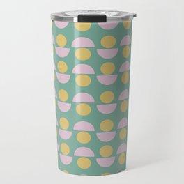 Scandinavian Geometric Pattern in Green, Lavender and Yellow Travel Mug
