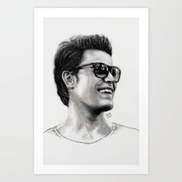 wesley bird Art Prints featuring Paul Wesley by Michelle Szalai
