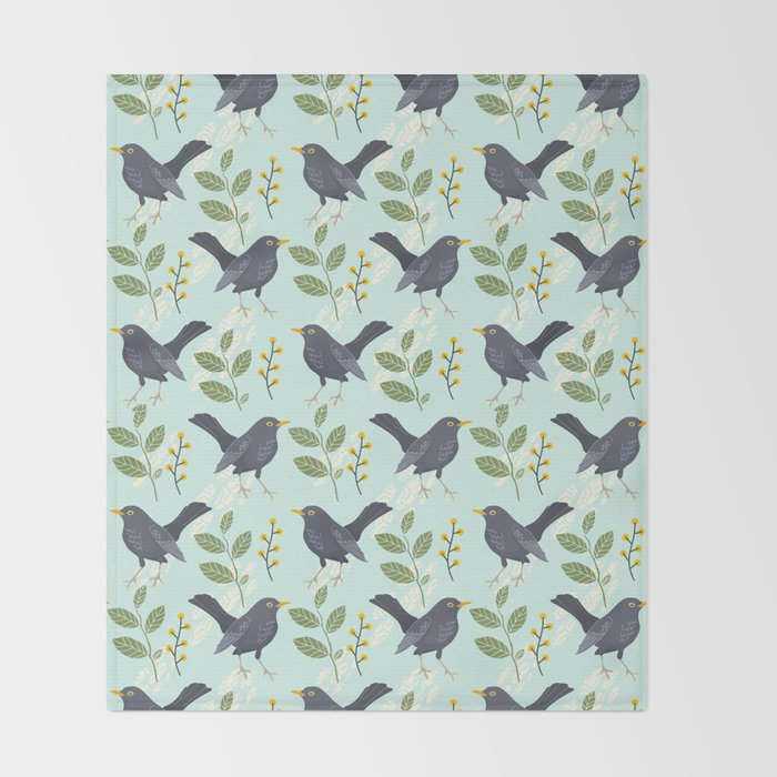 8fed3591324fa7 A Flurry Of Wings Spring Blackbird Pattern Throw Blanket by sunnybunny |  Society6