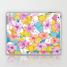 Digital spring flowers behind grid Laptop & iPad Skin