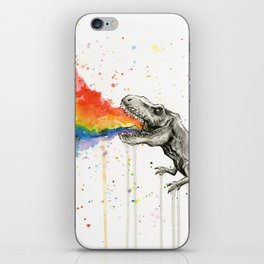 T-Rex Dinosaur Vomits Rainbow iPhone Skin
