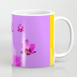 PURPLE ORCHID FLOWERS RAIN YELLOW ART Coffee Mug