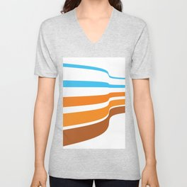 BLUE, ORANGE  AND BROWN LINES  ON A WHITE BACKGROUND Abstract Art Unisex V-Neck