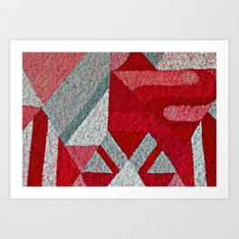 Pink, Red and Grey Art Print
