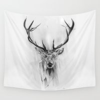 portrait Wall Tapestries featuring Red Deer by Alexis Marcou