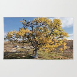 Yellow Tree in the mountains Rug