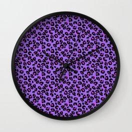 Bright Purple Leopard Spots Animal Print Pattern Wall Clock