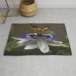 Side View of Beautiful Passiflora Flower Rug