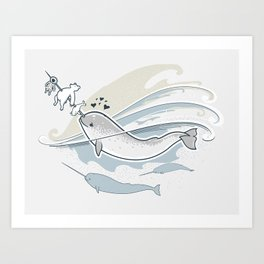 The Friendly Narwhal Art Print