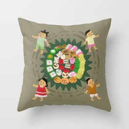 Indonesian Marketplace Nibbles Throw Pillow