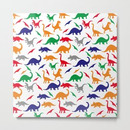 Colorful Dinos in Green, Grey, Red, Blue Yellow Metal Print