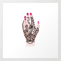 Modern watercolor hand  floral henna tattoo pink nails Art Print