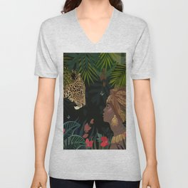 abstract tropical African jungle flowers leaves Unisex V-Neck