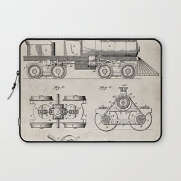 Train Locomotive Patent - Steam Train Art - Antique Laptop Sleeve