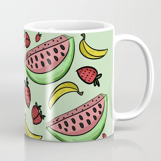 Fruit Pattern - Watermelon, Strawberry, Banana Mug