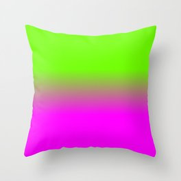 Neon Green and Hot Pink Ombré  Shade Color Fade Throw Pillow