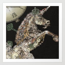 unicorn - licorne - unicorno - 獨角獸 - Einhorn - magique - magic - tayatamelie am-steampunk Art Print