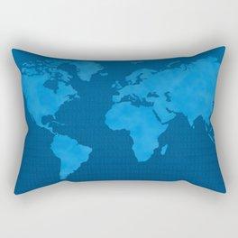 Blue World Map Rectangular Pillow