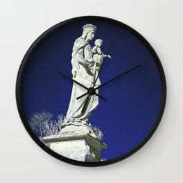 Infrared madonna and child statue Wall Clock
