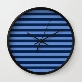 Slate blue and Light Blue Thin Stripes Wall Clock