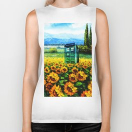 tardis and flowers Biker Tank