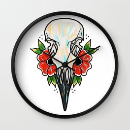 Crow Skull and Flowers Wall Clock