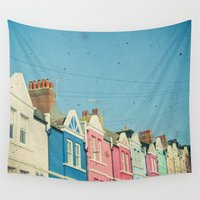 street Wall Tapestries featuring Rainbow Street by Cassia Beck