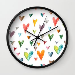 Multiculti Hearts Wall Clock