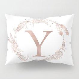 Letter Y Rose Gold Pink Initial Monogram Pillow Sham