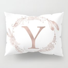 Letter Y Rose Gold Pink Initial Monogram Pillow Sham
