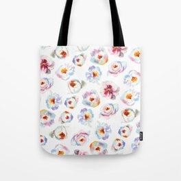 Modern hand painted pink blue lilac watercolor peonies Tote Bag