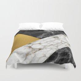 Gold foil white black marble #4 Duvet Cover