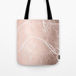 Paris France Minimal Street Map - Rose Gold Glitter on White Tote Bag