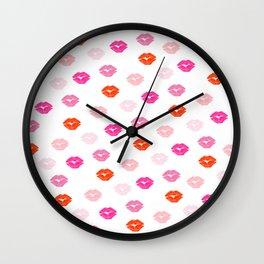 Kiss, Lips, Fashion, Red, Pink, Cute, Funny, Minimal, Pattern, Modern art Wall Clock