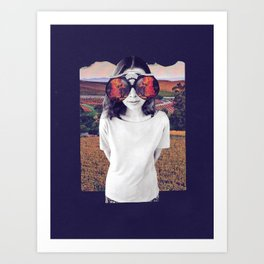 Surreal California Dreaming Wildfires Handmade Collage Art Print