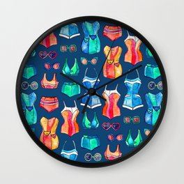 Sixties Swimsuits and Sunnies on dark blue Wall Clock