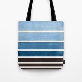 Green Blue Minimalist Watercolor Mid Century Staggered Stripes Rothko Color Block Geometric Art Tote Bag