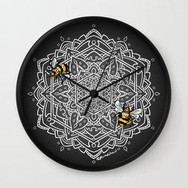 Bee Dance Mandala A - White Wall Clock