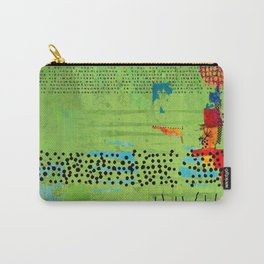 Red and Green Abstract Art Collage Carry-All Pouch