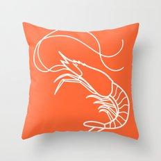 Orange Shrimp Throw Pillow